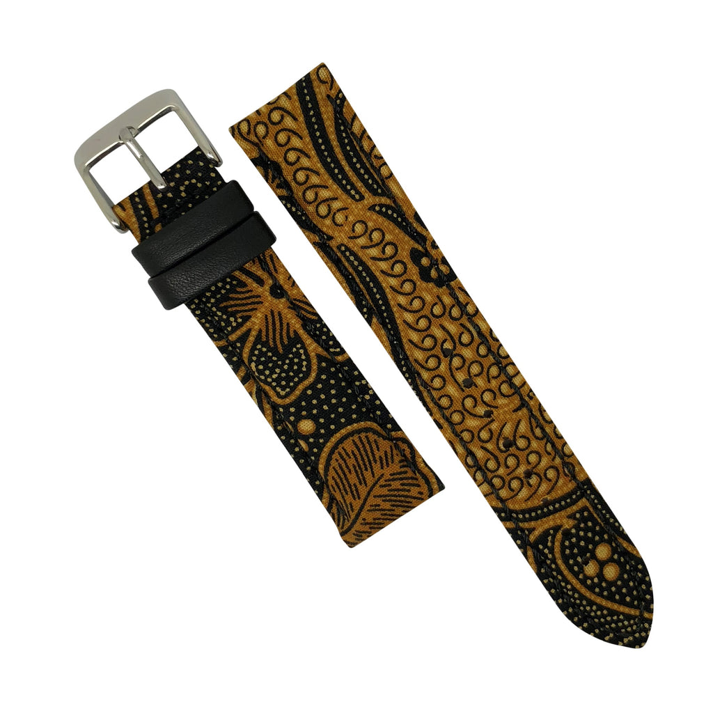 Batik Watch Strap in Sogan Brown with Silver Buckle (20mm) - Nomad watch Works