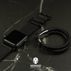 Apple Watch Leather Zulu Strap in Black with Silver Buckle (38 & 40mm) - Nomad watch Works
