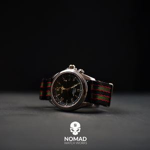 Seat Belt Nato Strap in Black Green Red (James Bond) with Brushed Silver Buckle (20mm) - Nomad watch Works