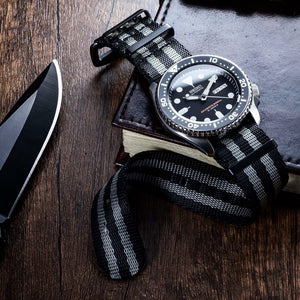 Seat Belt Nato Strap in Black Grey (James Bond) with Brushed Silver Buckle (22mm) - Nomad watch Works