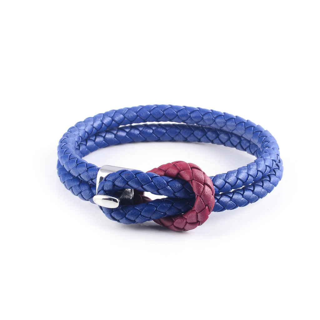 Maison Leather Bracelet in Blue with Red Loop (Size M)