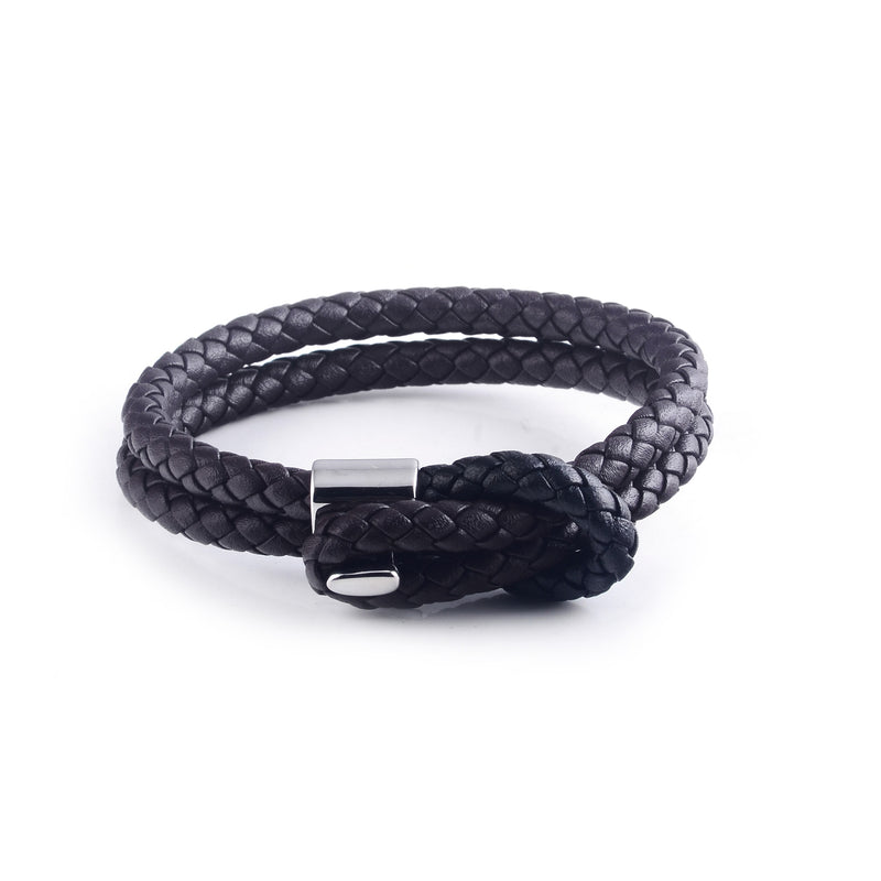 Maison Leather Bracelet in Brown with Black Loop (Size M) - Nomad watch Works