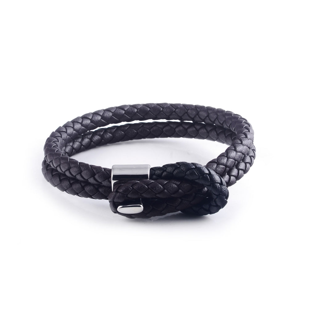Maison Leather Bracelet in Brown with Black Loop (Size L)