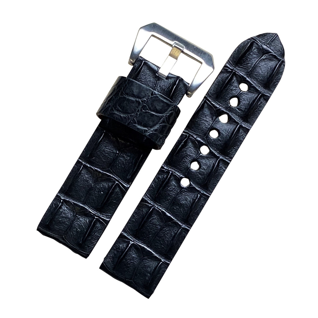 Exotic Crocodile Leather Watch Strap in Black Hornback (24mm) - Nomad watch Works