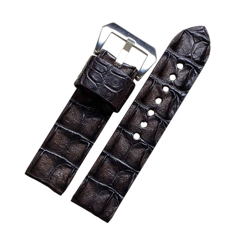 Exotic Crocodile Leather Watch Strap in Brown Hornback (24mm) - Nomad watch Works