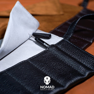 Leather Strap Roll in Black (10 Slots) - Nomad watch Works