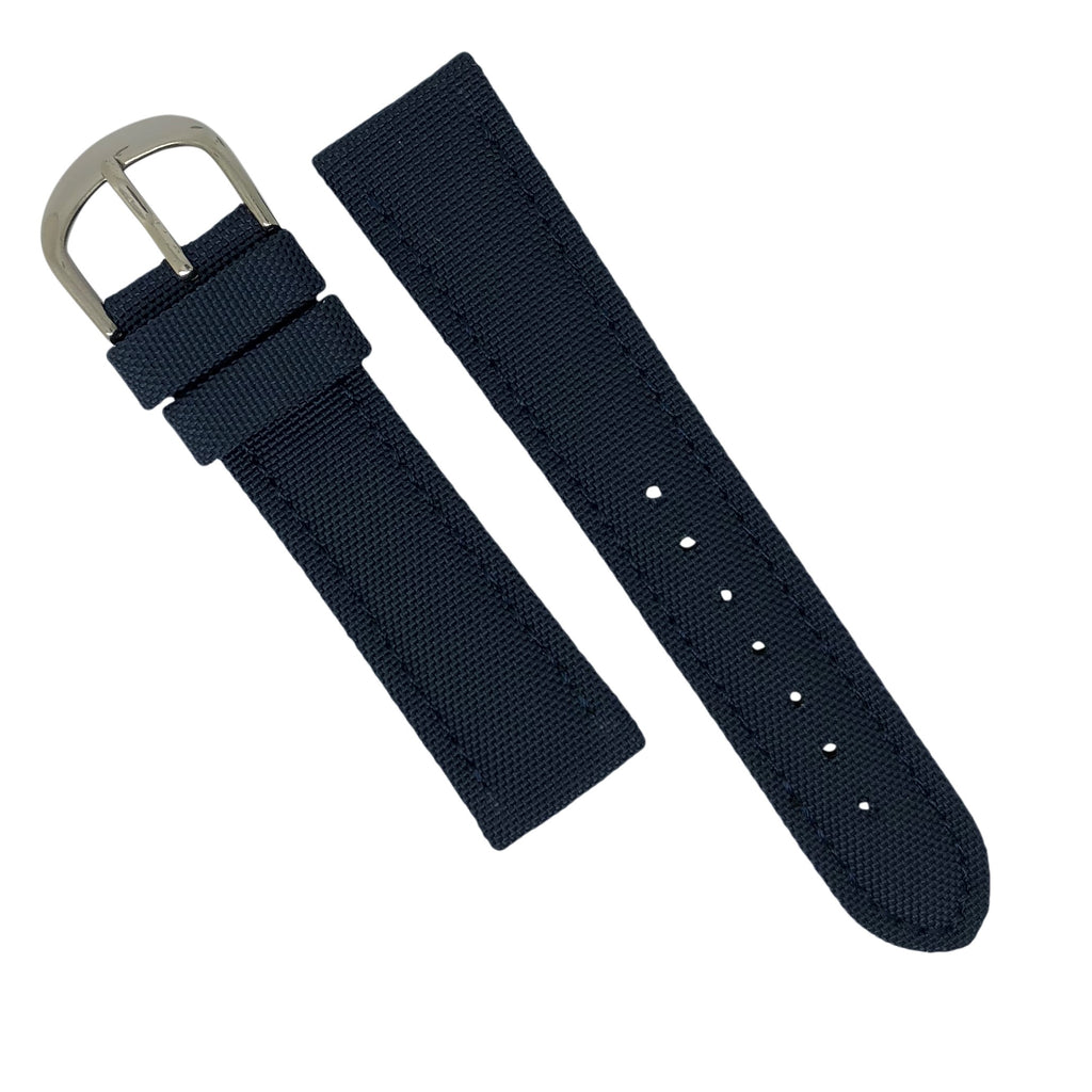 Canvas Watch Strap in Navy with Silver Buckle (20mm) - Nomad watch Works