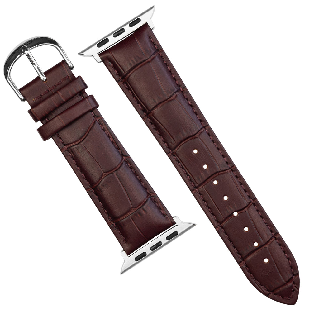 Apple Watch Genuine Croc Pattern Stitched Leather Strap in Brown (42 & 44mm) - Nomad Watch Works SG