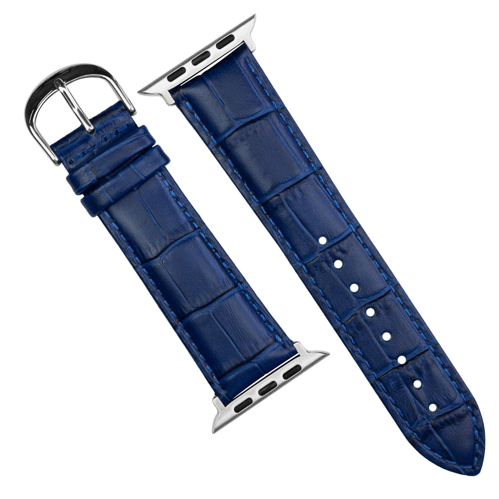 Apple Watch Genuine Croc Pattern Stitched Leather Strap in Navy (42 & 44mm) - Nomad Watch Works SG