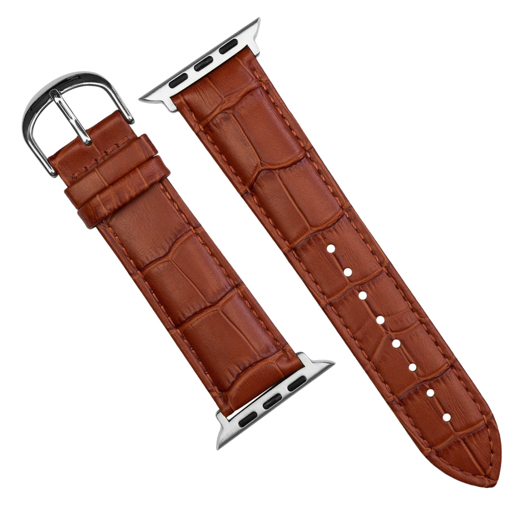 Apple Watch Genuine Croc Pattern Stitched Leather Strap in Tan (42 & 44mm) - Nomad Watch Works SG