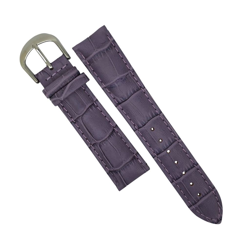 Genuine Croc Pattern Stitched Leather Watch Strap in Purple (16mm)
