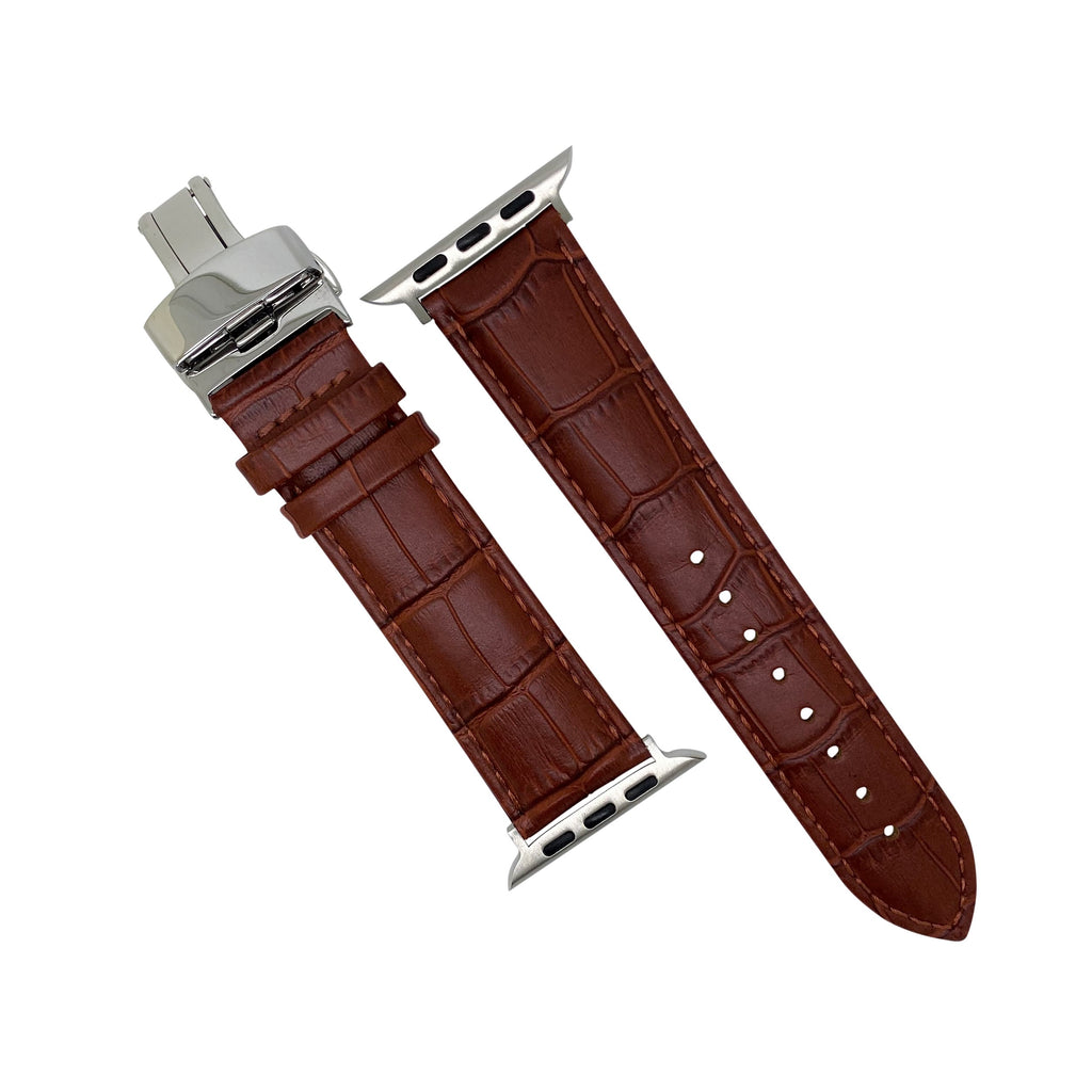 Apple Watch Genuine Croc Pattern Leather Watch Strap in Tan w/ Silver Butterfly Clasp (38 & 40mm) - Nomad watch Works