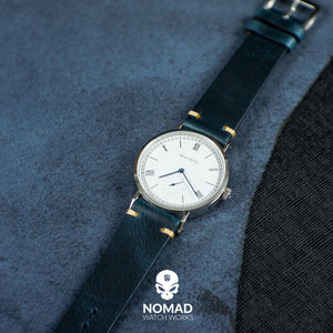 Premium Vintage Oil Waxed Leather Watch Strap in Navy (22mm) - Nomad watch Works