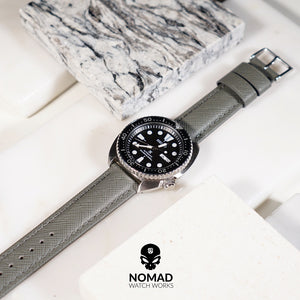 Premium Saffiano Leather Strap in Grey (20mm) - Nomad watch Works