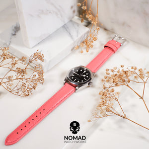 Premium Saffiano Leather Strap in Pink (20mm) - Nomad watch Works
