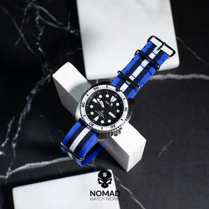 Premium Nato Strap in Blue Black White with PVD Black Buckle (22mm) - Nomad watch Works
