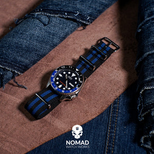 Premium Nato Strap in Black Blue Small Stripes with Polished Silver Buckle (20mm) - Nomad watch Works