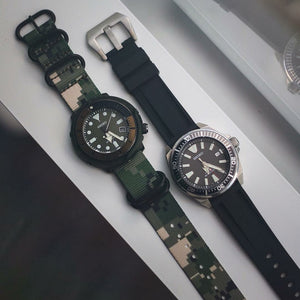 Heavy Duty Zulu Strap in Digital Camo with PVD Black Buckle (20mm) - Nomad watch Works