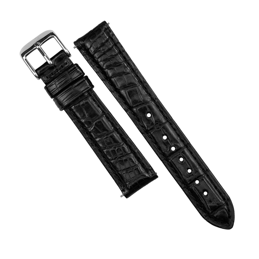 Exotic Crocodile Leather Watch Strap in Black Round Scale (22mm) - Nomad Watch Works SG