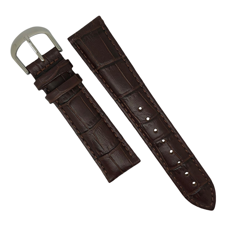 Genuine Croc Pattern Stitched Leather Watch Strap in Brown (20mm)