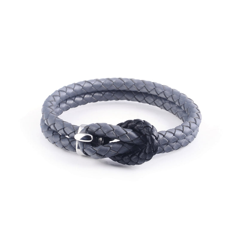Maison Leather Bracelet in Grey with Black Loop (Size S) - Nomad watch Works