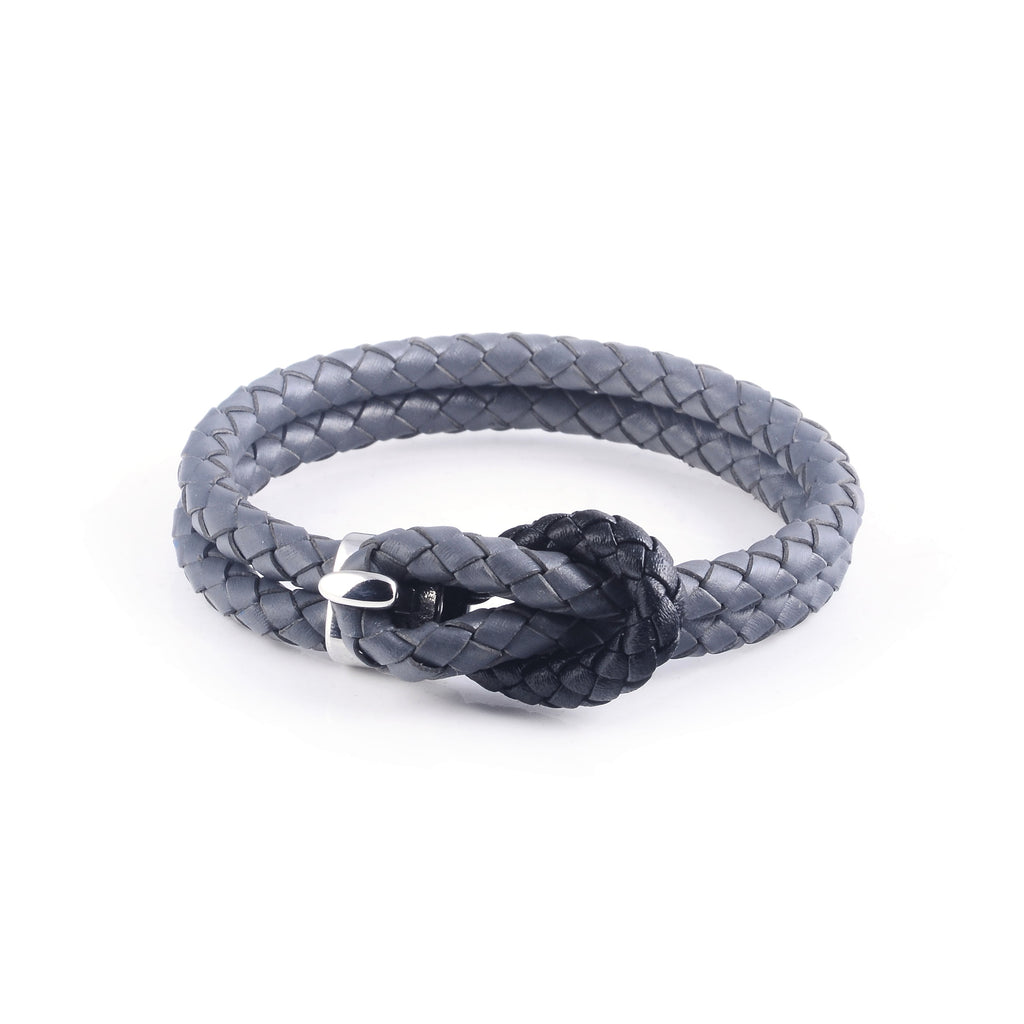 Maison Leather Bracelet in Grey with Black Loop (Size L)