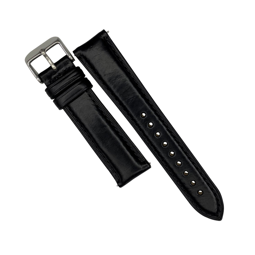 N2W Classic Horween Leather Strap in Chromexcel® Black (18mm) - Nomad watch Works