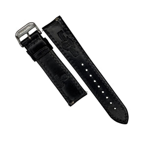 N2W Classic Horween Leather Strap in Chromexcel® Black (19mm) - Nomad watch Works
