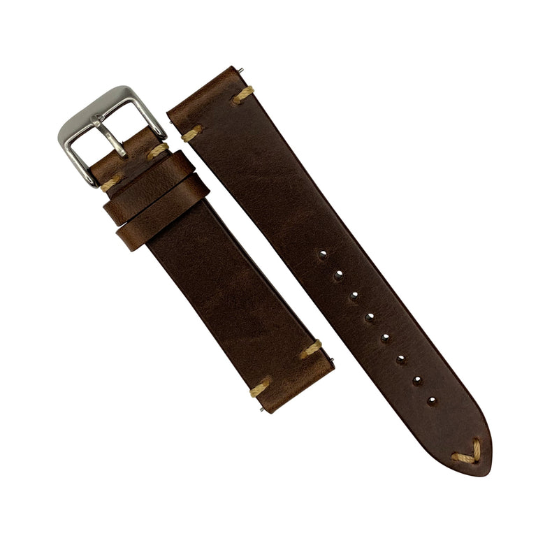 N2W Vintage Horween Leather Strap in Chromexcel® Brown (22mm) - Nomad watch Works