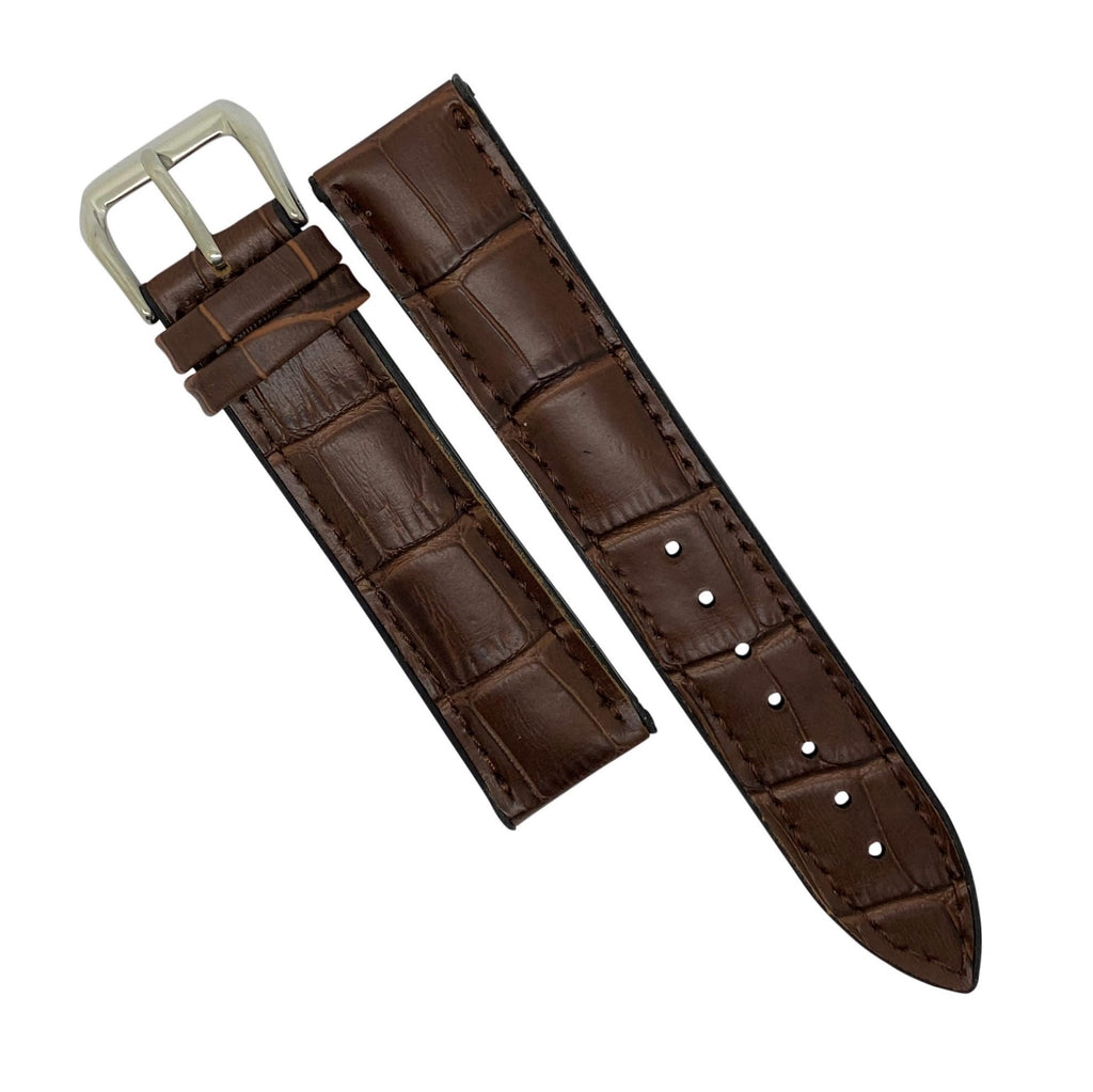 Performax Croc Pattern Leather Hybrid Strap in Brown (20mm) - Nomad watch Works