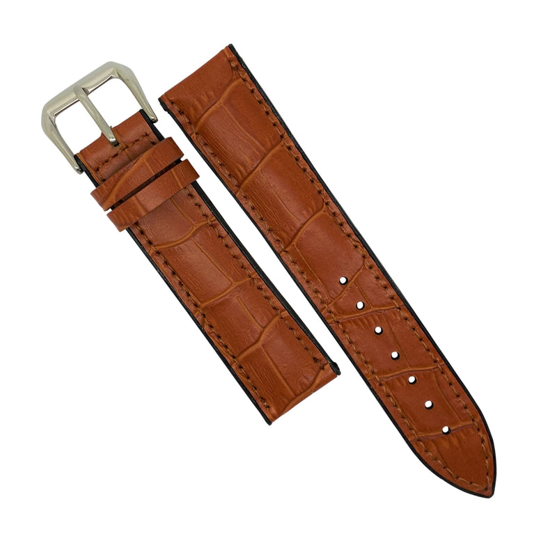 Performax Croc Pattern Leather Hybrid Strap in Tan (20mm) - Nomad watch Works