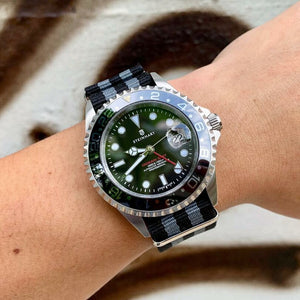 Premium Nato Strap in Black Grey (James Bond) with Polished Silver Buckle (24mm) - Nomad watch Works
