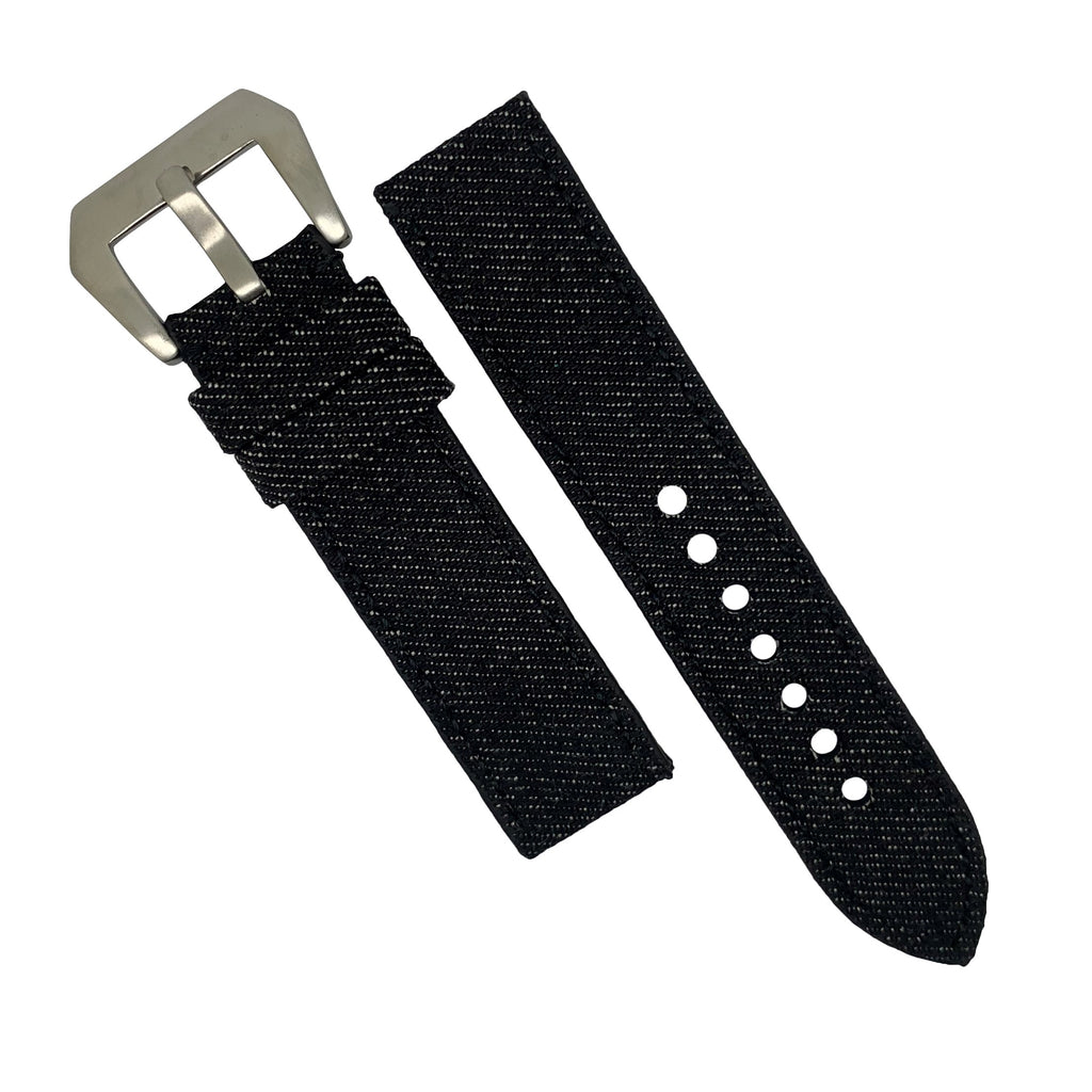 Japanese Dry Denim Strap in Black (24mm) - Nomad watch Works