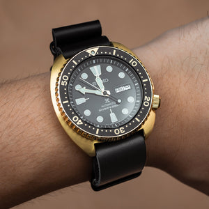 Premium Leather Nato Strap in Black with Black Buckle (18mm) - Nomad watch Works