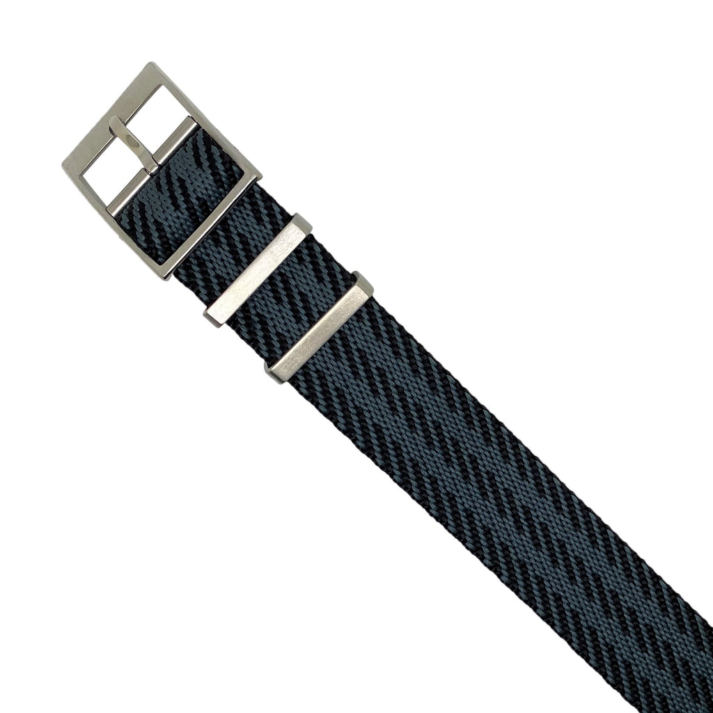 Lux Single Pass Strap in Black Grey with Silver Buckle (22mm) - Nomad watch Works
