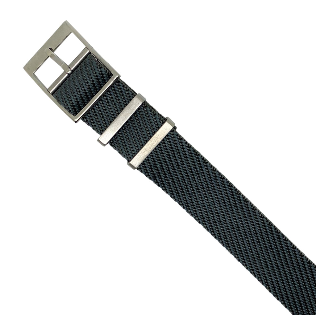 Lux Single Pass Strap in Grey with Silver Buckle (20mm) - Nomad watch Works