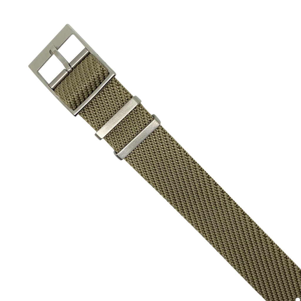 Lux Single Pass Strap in Khaki with Silver Buckle (22mm) - Nomad watch Works