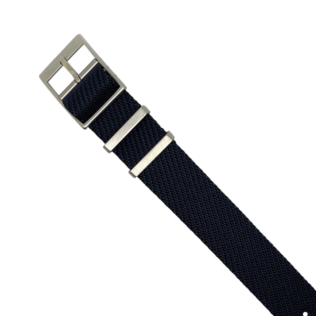 Lux Single Pass Strap in Navy with Silver Buckle (20mm) - Nomad watch Works