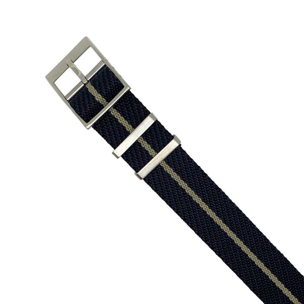 Lux Single Pass Strap in Navy Khaki with Silver Buckle (20mm) - Nomad watch Works