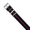 Lux Single Pass Strap in Navy Red with Silver Buckle (20mm) - Nomad watch Works