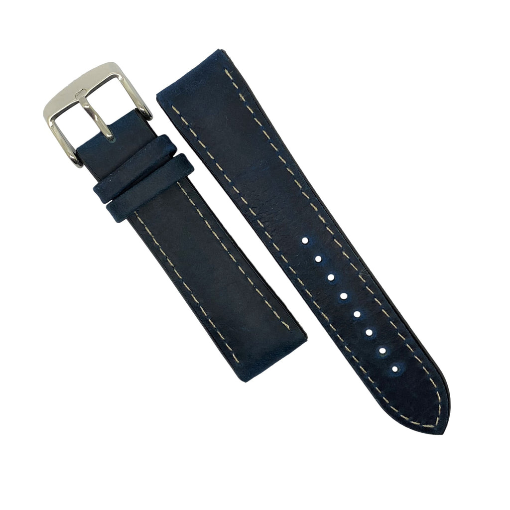 Performax Matt Leather Hybrid Strap in Navy (22mm) - Nomad watch Works