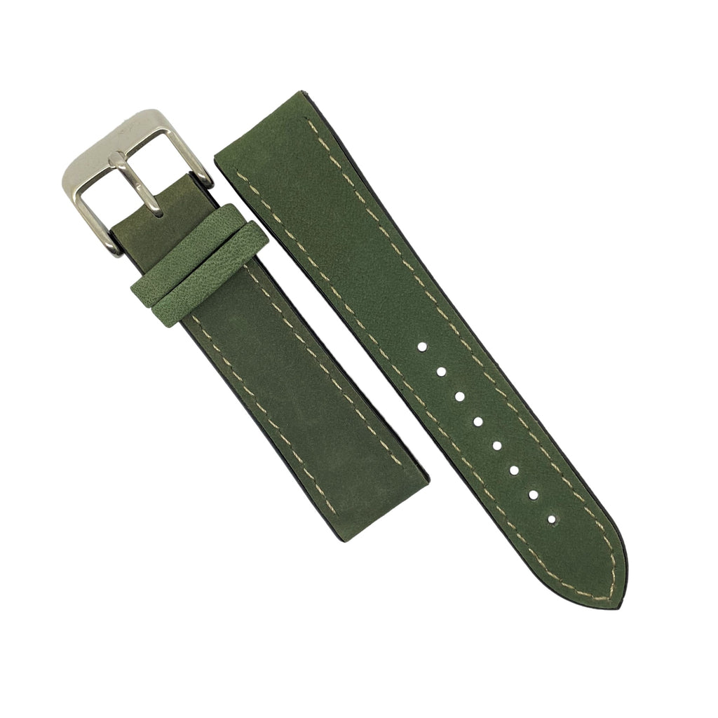 Performax Matt Leather Hybrid Strap in Olive (22mm) - Nomad watch Works
