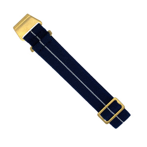 Marine Nationale Strap in Navy White with Bronze Buckle (20mm) - Nomad watch Works