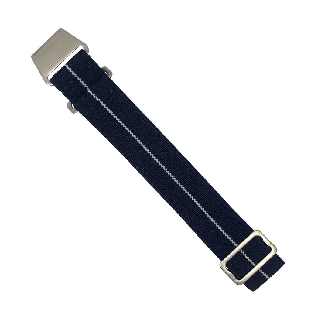 Marine Nationale Strap in Navy White with Silver Buckle (20mm) - Nomad watch Works