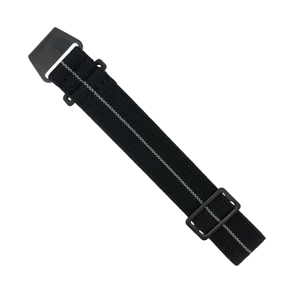 NDC Military Strap in Black Grey with Black Buckle (20mm)