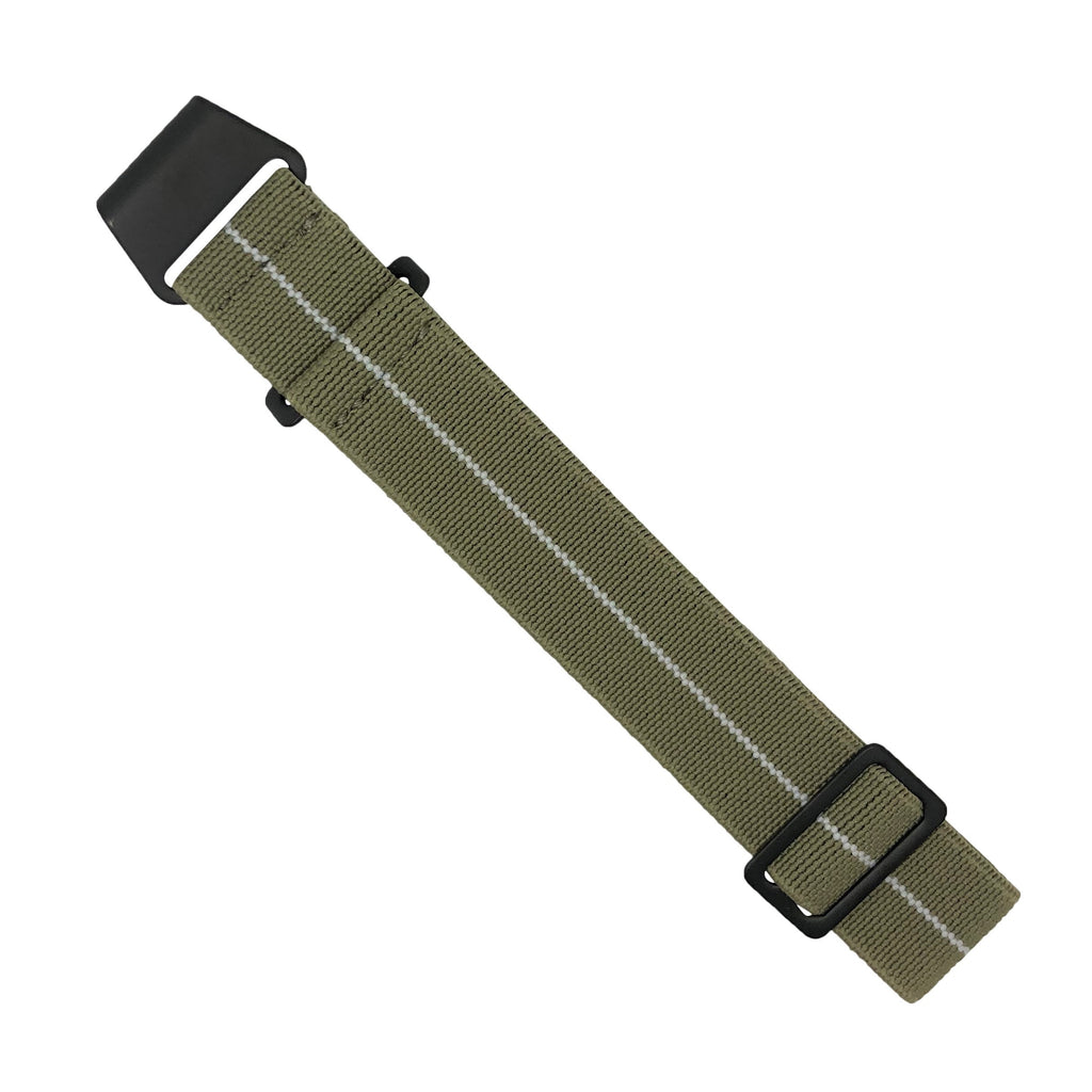NDC Military Strap in Khaki White with Black Buckle (20mm)