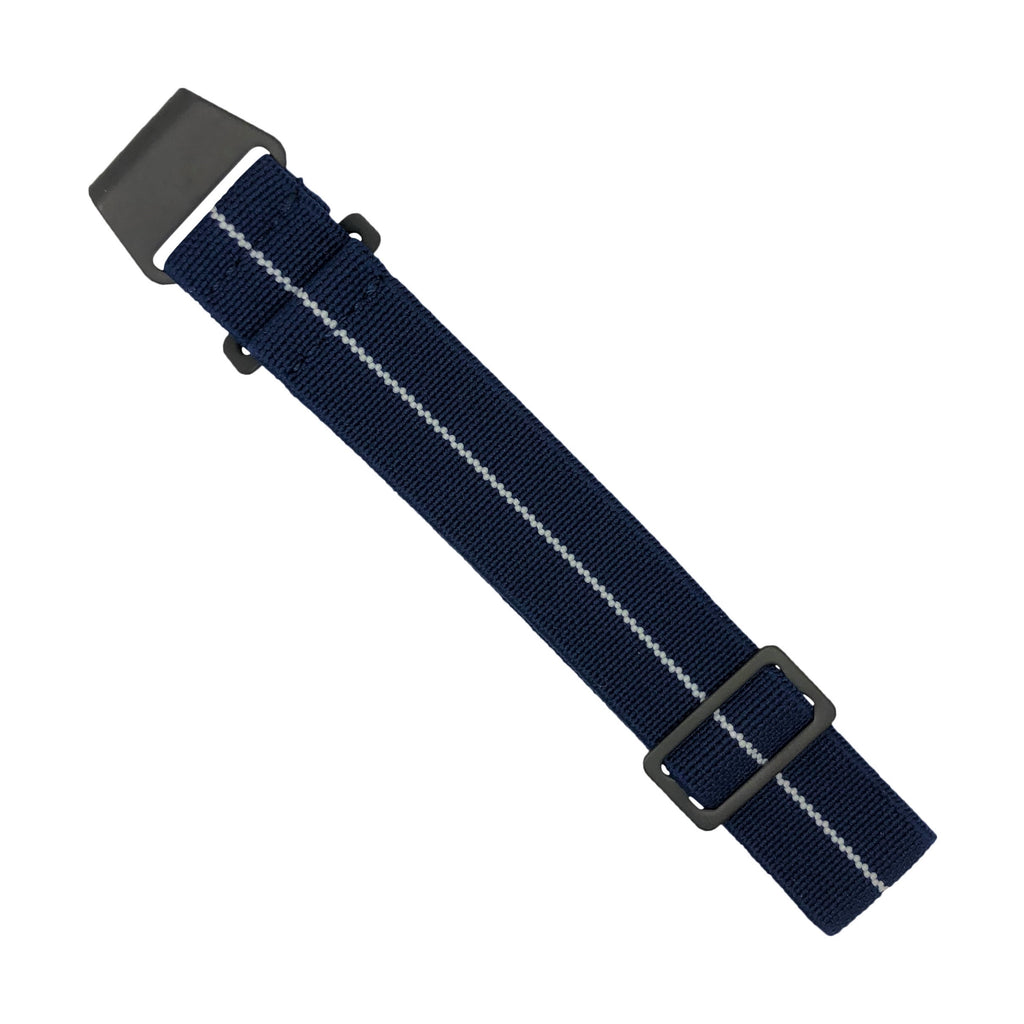 Marine Nationale Strap in Navy White with Black Buckle (20mm) - Nomad watch Works