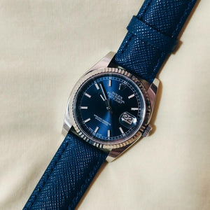 Premium Saffiano Leather Strap in Navy (20mm) - Nomad watch Works