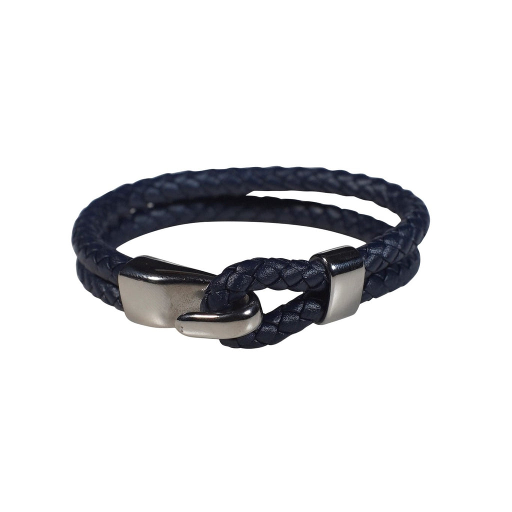 Oxford Leather Bracelet in Navy (Size L)