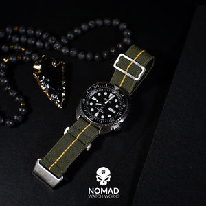 NDC Military Strap in Olive Yellow with Silver Buckle (20mm)